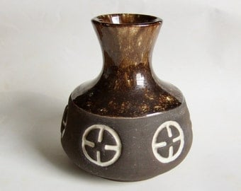 Vintage Art Pottery Vase -  1970s Brown Pot with Textured Matt and Glossy Glazes