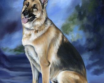 Dog Lover Gift, Custom Pet Portrait, Custom Pet Painting from photo, size 16 x 20 Pet Art, Dog or Cat Painting, Pet Memorial Art