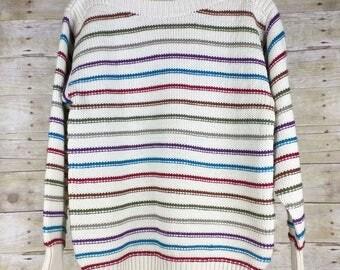 Vintage Beige Colorful Stripe Sweater Misses 40 L XL