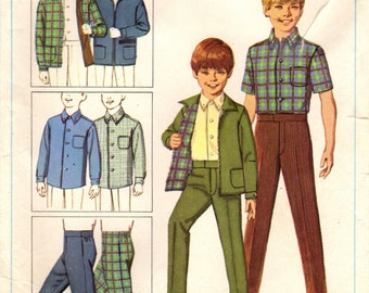 1960s Simplicity 7840 Vintage Sewing Pattern Boys Jacket, Shirt, and Pants Size 5