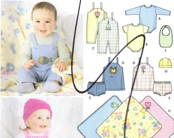 Simplicity 5374 UNCUT Sewing Pattern Infant's Overalls, Jumper, Panties, Bib, Hat, Blanket, Onesie Size Newborn to 24 lbs