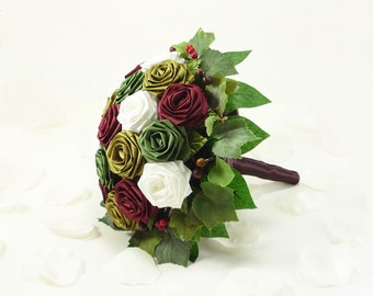 Tuscan Vineyard , Wedding Bouquet, Bridal Bouquet, Rustic Wedding, Woodland Bouquet, Origami Wedding Flowers, Rose bouquet, Rustic Bouquet
