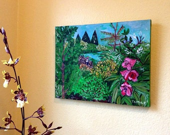 ORIGINAL Painting, Woman on Bridge, Flower Painting, The Rhododendron Garden, Portland Oregon, Pink Flower, Pacific Northwest Landscapes