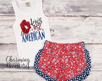 NEW 4th of July Baby Girl Outfit, Independence Day Patriotic Glitter Tank Top and Ruffle Shorts Set, Toddler Clothes, Kiss Me I'm American