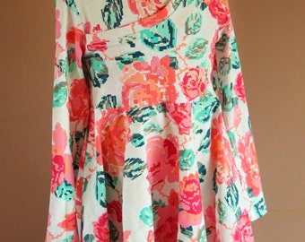 Perfect Crossover Tunic in Art Gallery Floral - Ready to Ship - Size 6 - Handmade by The Kisses Co