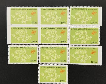 Vintage unused postage stamps - giving and sharing, 32c, a booklet of 10 stamps