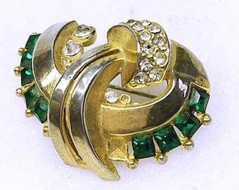 Vintage 1930s Brooch Pin 30s Boucher? Art Deco w Green Square Cut Rhinestones . Crescent Shape Brooch Gold Wash Finish Metal Costume Jewelry