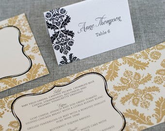 Unique Black and White Vintage Brocade Wedding Place Cards | Damask Escort Cards | Black Damask Name Card | Anne & Sean