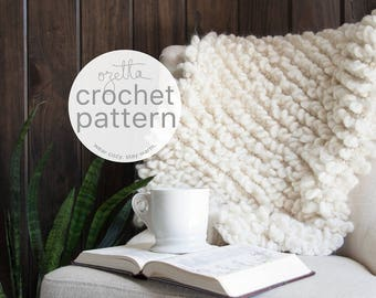 Crochet Pattern / Chunky Blanket Throw, Decor / THE WOOLY Mini Throw
