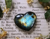 Labradorite Heart - Labradorite Heart Palm Stone - Dark Rainbow Labradorite - Iridescent Labradorite Crystal Heart