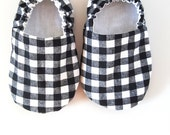 Baby Shoes, Baby Moccasins, Childrens Indoor Shoes, Black Plaid