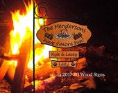 Campsite Name Sign - Colored Campfire Smore w sign holder Custom Campsite Sign Family Name Signs JGWoodSigns Etsy Camper Name Sign Henderson
