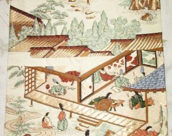 Vintage Japanese Kimono Obi Silk Piece with Gold Thread Bride Wedding Heian Noble People Garden Landscape