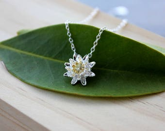 Tiny lotus necklace, gift for mom, mothers sister gift, dainty necklace, delicate necklace, child toddler necklace, minimalist, flower charm