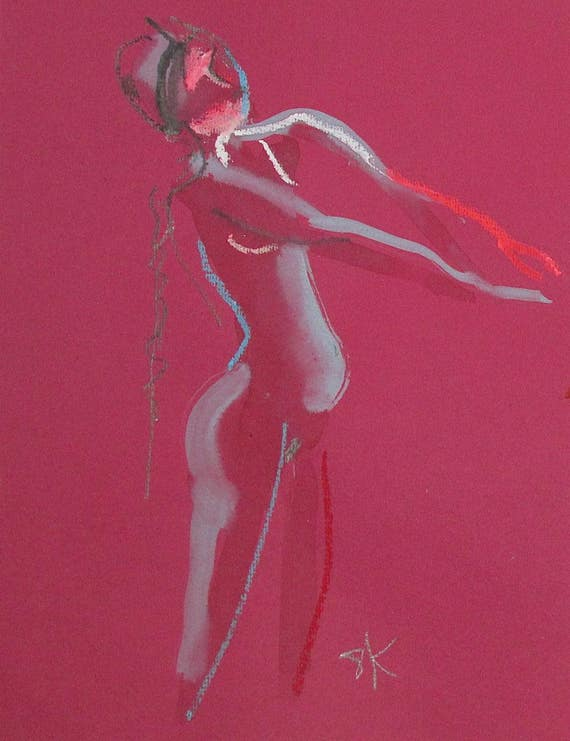 Nude painting of One minute pose 102.4 - Original nude painting by Gretchen Kelly