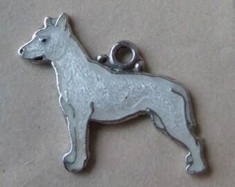 Pit-bull? White Dog Puppy Charm Sterling Enamel Cloisonné Vintage 925 Silver