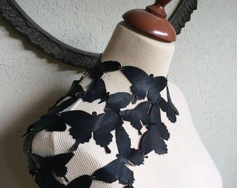 Black Butterfly - Leather Butterflies Steampunk One Shoulder Choker Necklace or Bolero - OOAK