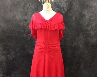 Vintage 1930's pinky red rayon chiffon dress with capelet small XS