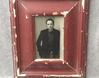 Reclaimed Wood 4x6 Picture Frame Photo Shabby Red Cottage Chic 346-16
