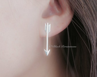 Large Arrow Earrings - Solid 925 Sterling Silver Post - Insurance Included