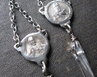 Quartz Points and Upcycled Antique Rosary Medals - Ephemeral