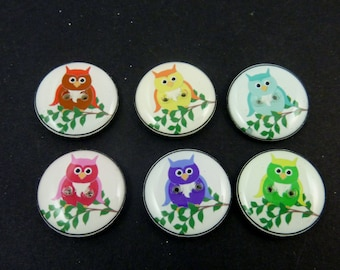 """6 Assorted Owl Novelty buttons. Handmade Decorative Craft buttons.  3/4"""" or 20 mm round Buttons for Sewing. Washer and Dryer Safe."""