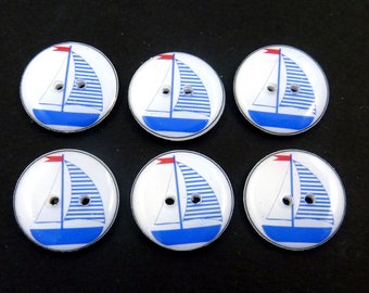 "6 Bright Blue Sailboat buttons. Handmade buttons. Sewing Buttons.  3/4"" or 20 mm."