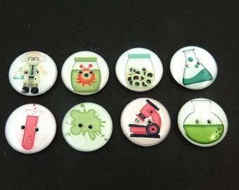 """Mad Scientist Handmade Buttons. 8 Science themed sewing, knitting, crochet buttons.  3/4"""" or 20 mm."""