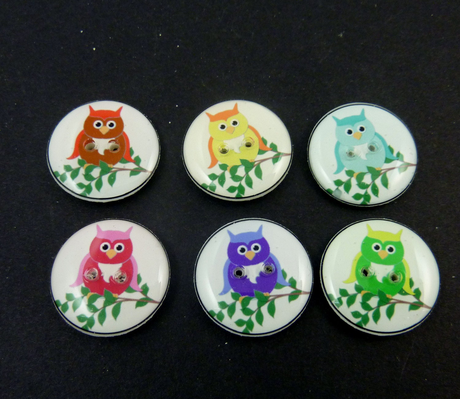 6 assorted owl novelty buttons handmade decorative craft for Decorative pins for crafts