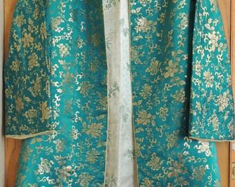Elegant Oriental Brocade Reversible Robe