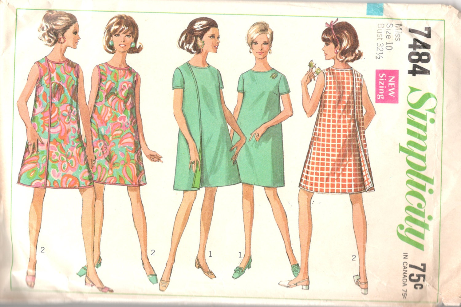 Simplicity 7484 1960s misses mod 3 armhole wrap dress for Armhole template for pillowcase dress