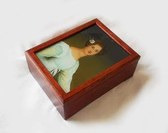 Vintage Wooden Box Regency Lady in Blue Portrait Picture Under Glass in Box Lid 5 X 7 Jane Austen Rectangular Trinket Jewelry Storage Box