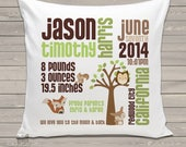 Birth announcement pillow new baby gift woodland friends custom throw pillow with pillowcase BP-062