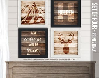 Rustic wood wall art photo prints for baby's nursery - deer, mountains -personalized monogram initial  print SET of FOUR  prints FBP-003