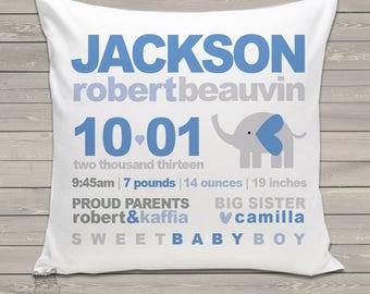 Birth announcement new baby gift custom MOD elephant throw pillow BP-018