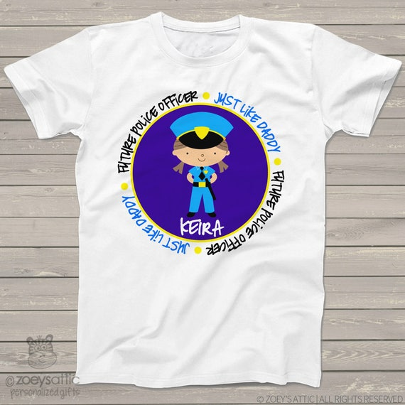 Childrens personalized shirt - Future Occupation - Police Officer - MOMMY or DADDY for your aspiring little one MPOL1-002