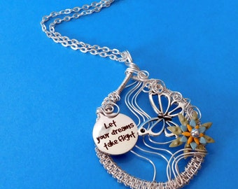 "Butterfly Necklace Jewelry Gift, Woven Wire Butterfly Necklace ""Let Your Dreams Take Flight"""