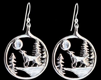 Wolf Earrings Howling Wolf Totem Wolf Jewelry Wild Jewelry Forest Animal Charm Coyote Moon Earrings Silver Full Moon Jewelry Lone Wolf Howl