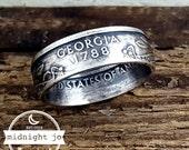 Georgia Coin Ring 90% Silver Quarter Your Size MR0702-TSSGA