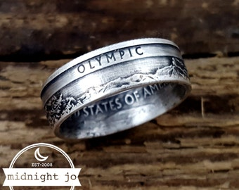 Coin Ring 90% Silver Olympic National Park Washington State