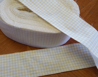 TR057 ~ Yellow trim Checked fabric Yellow and white Quilt fabric Ruffle fabric 10 yards