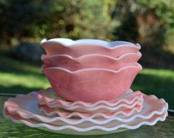 Lot of Hazel Atlas Pink Ripple Glass