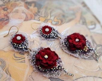 Red Rose earrings, red lace earrings, Boho statement earrings, bead embroidery double drop flower earrings, long lightweight earrings
