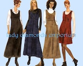 McCalls 2347 Womens Raised Waist Overall Style Jumper with A-line Skirt size 16 18 20 Plus Size 2 Hour Sewing Pattern Uncut FF