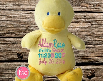 Personalized Duck Baby Gift , Duck stuffed animal , birth announcement gift , duck nursery toy, new baby gift, newborn gift