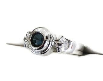 Deep Sapphire Blue Rhinestone Ring Vintage Silver Tone Size 7.25