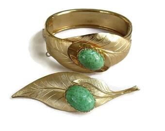 Green Art Glass Cabochon Leaf Bracelet & Brooch Set Vintage