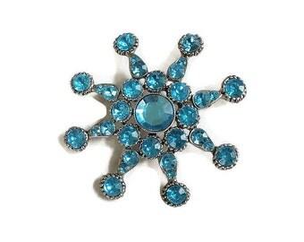 Blue Rhinestone Star Brooch Vintage Large