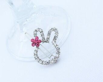 Hair Pin, Hair Clip, Cute Little Bunny Outline