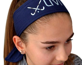 Field Hockey TIE BACK Moisture Wicking Sports Headband Personalized with the Embroidered Custom Name of Your Choice - Unisex Headband